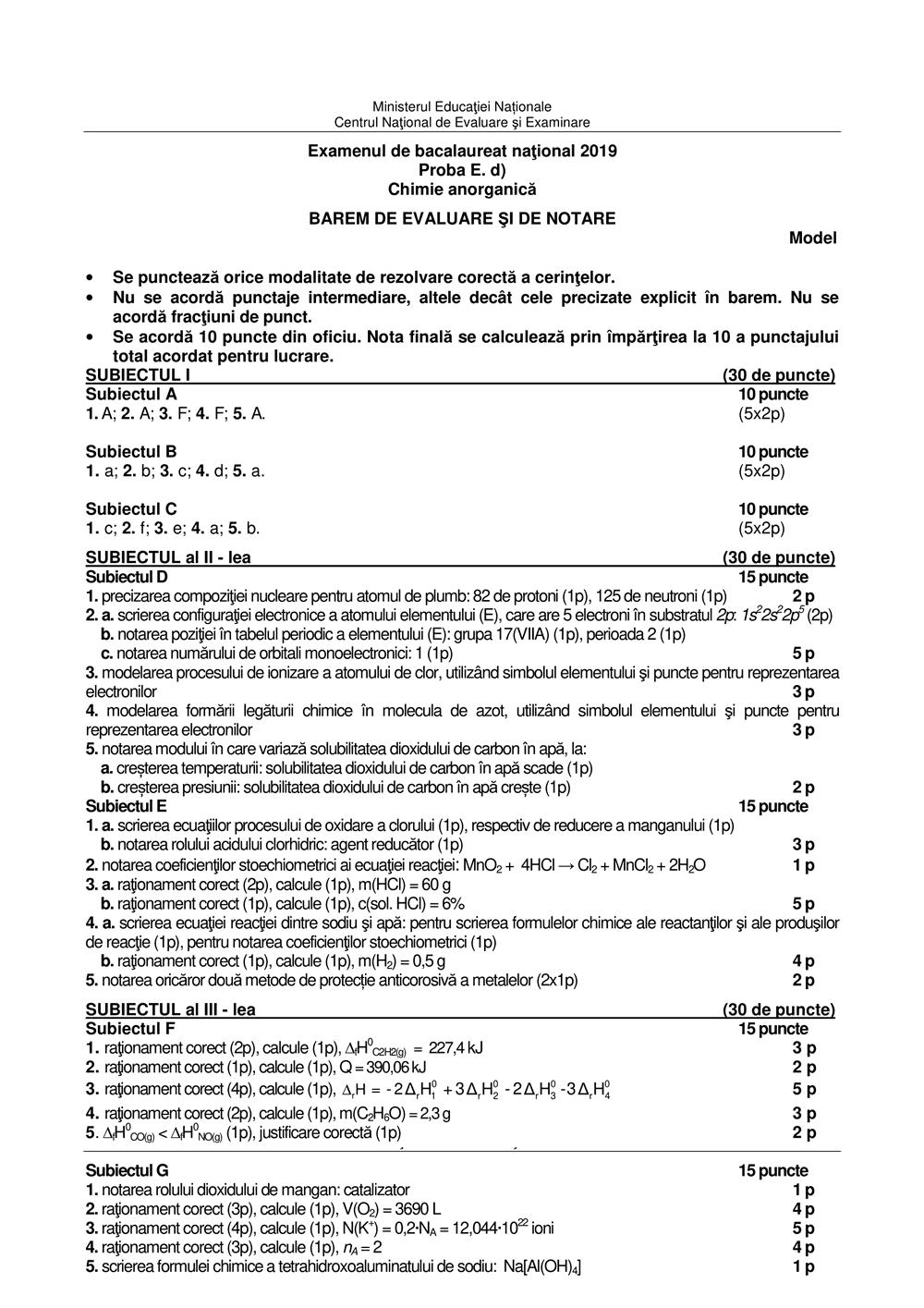 model de subiect chimie anorganica Bacalaureat 2019