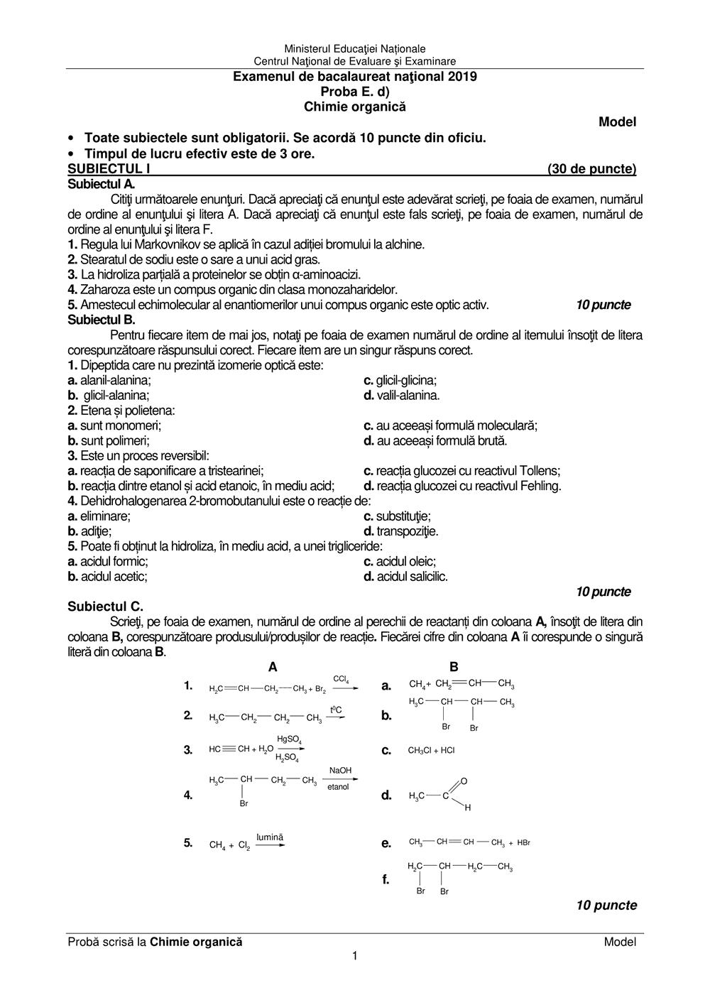 model de subiect chimie organica Bacalaureat 2019