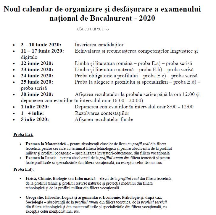 noul calendar de bacalaureat 2020 ebacalaureat.ro