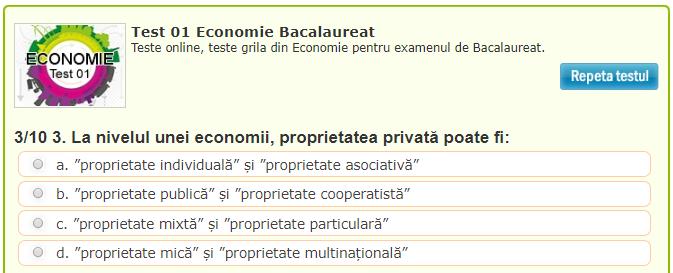 TESTE GRILE ECONOMIE PENTRU BACALAUREAT