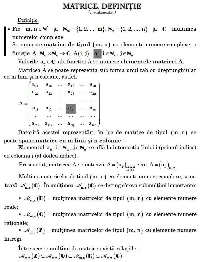 matrice_definitie Ghid pentru bacalaureat