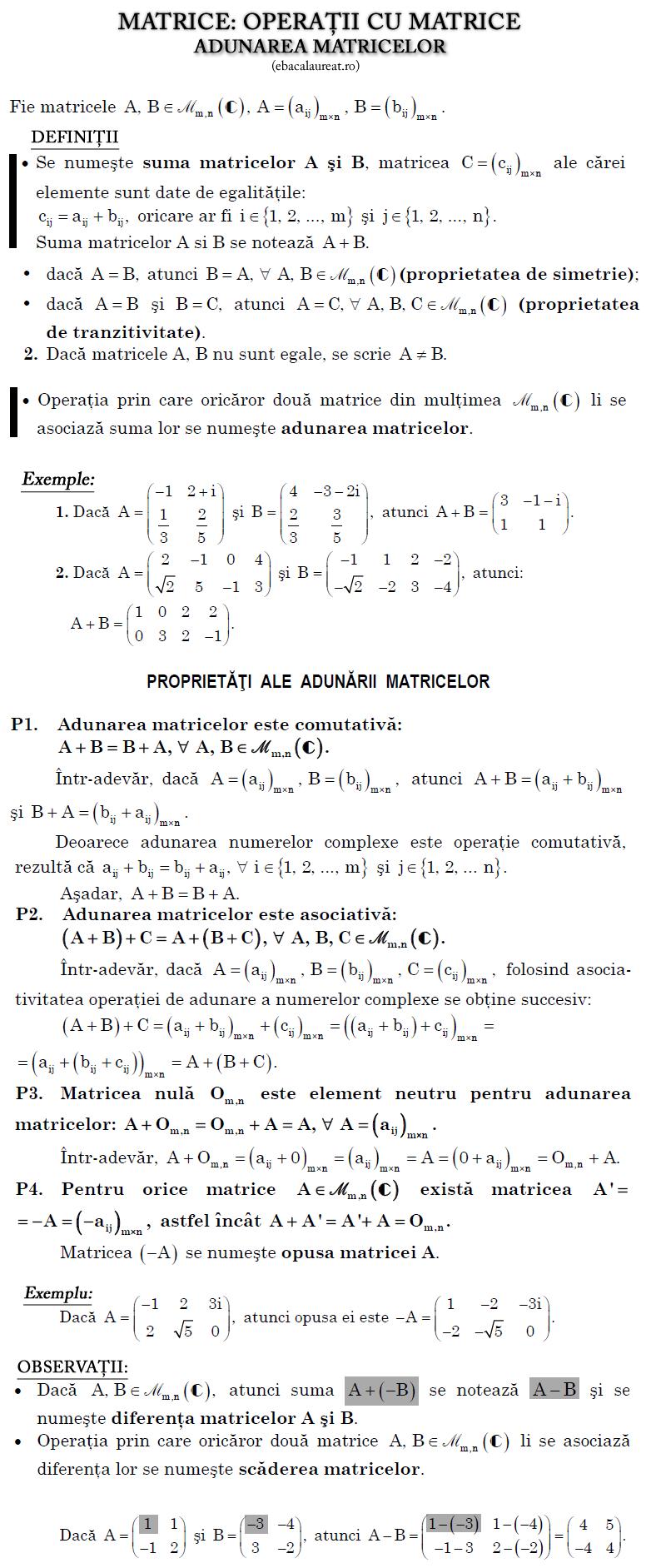 matematica matrice_adunarea_matricelor_ebacalaureat.ro