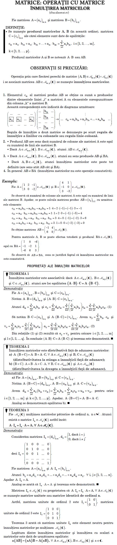 Înmulțirea matricelor Teoreme și proprietăți