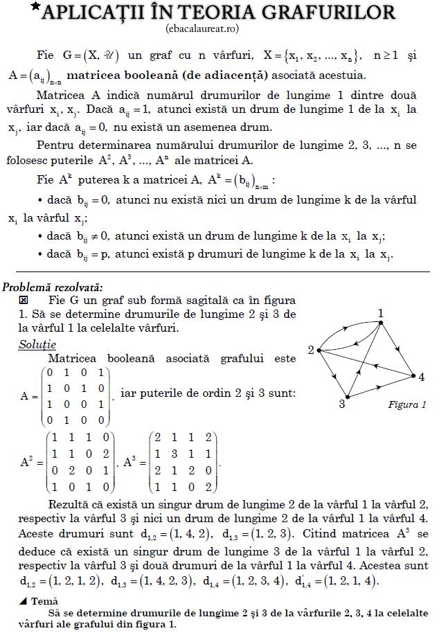 Aplicatii în teoria grafurilor