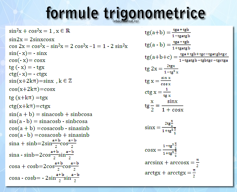 formule trigonometrice - ghid matematica pentru bacalaureat