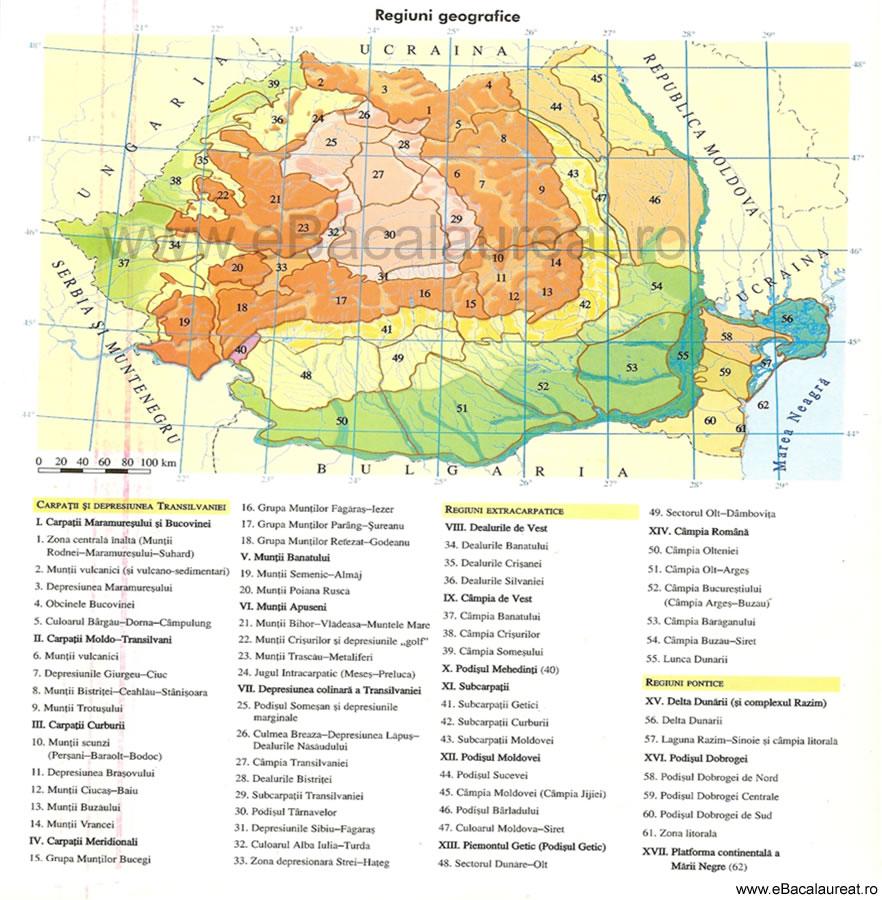 regiuni geografice harta bacalaureat