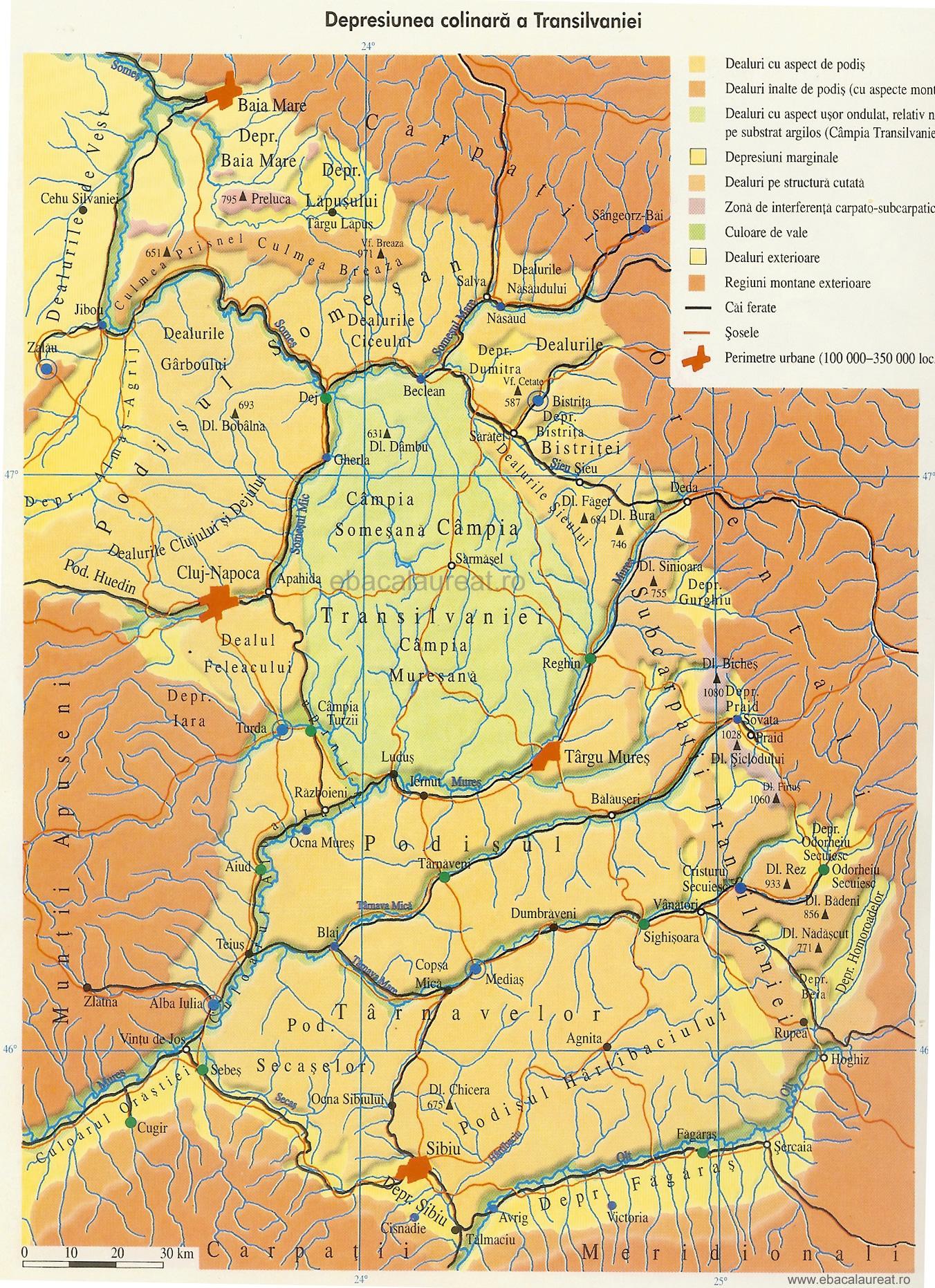 Harta Depresiunea Colinară a Transilvaniei