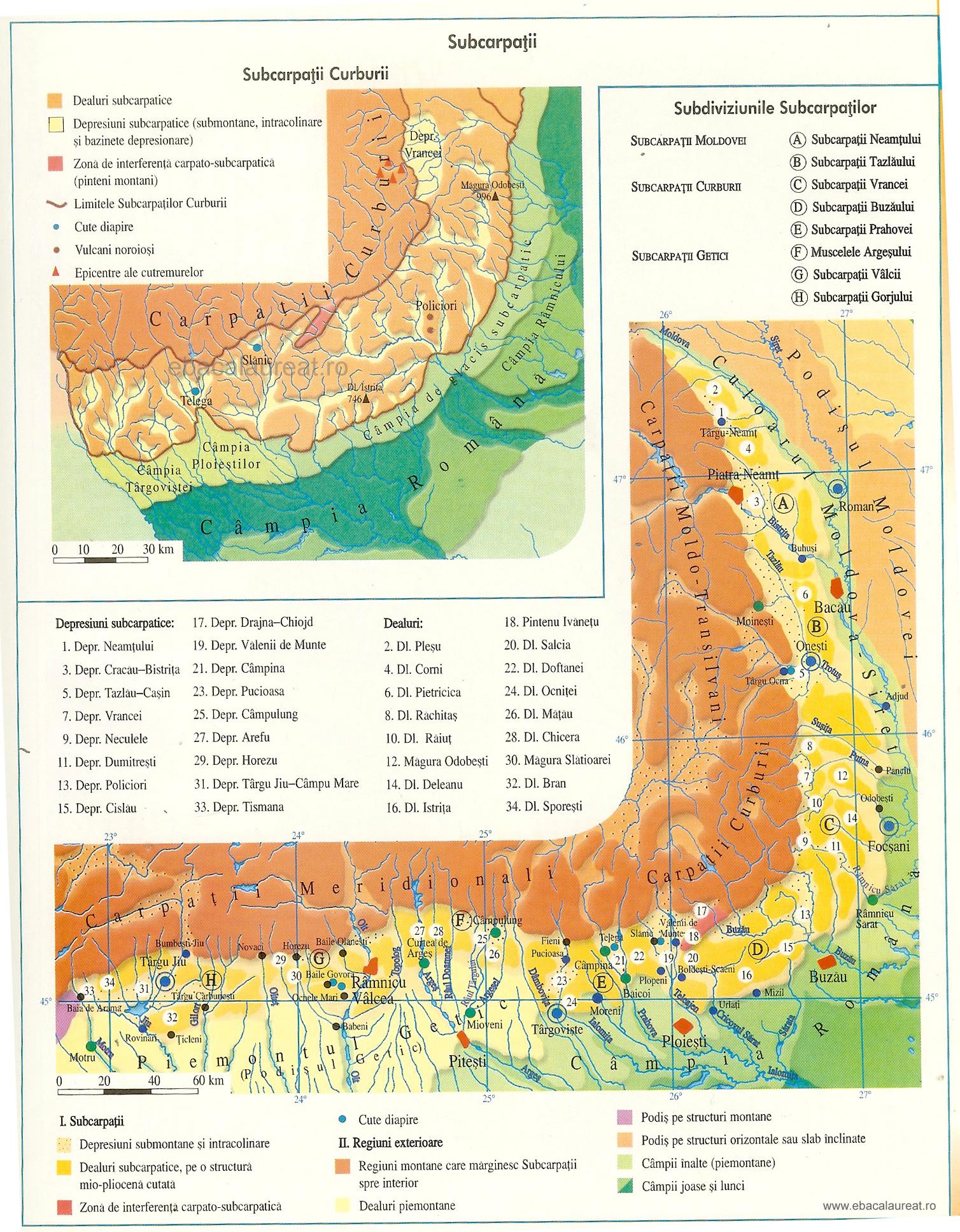 Harta Subcarpaţii Curburii
